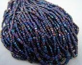 Vintage Blue Iris Czech bead hank 2 cut antique beaded purse repair  supplies Carnival beads