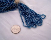 Vintage Czech  glass 2 cut bead hank Cornflower Blue Antique beaded purse repairs