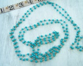 Vintage Rosary Chain glass beads Aqua blue 40 inches