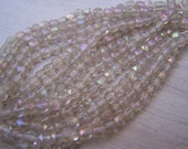 Antique Czech rough cut beads Crystal clear with AB firepolish finish English cut 5 mm beads  48 x beads total