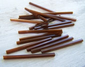 Vintage bugle beads extra long 30mm   tube beads rootbeer brown needle beads