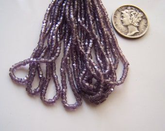 Vintage bead hank  Amethyst luster  seed tri cut 1920s  Translucent light purple violet Lavender
