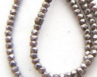 antique French steel cut beads diamond cut bead strand 16 in HigH SpArKle
