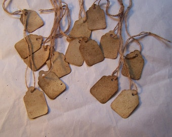Ol time  price labels handing tags strung jewelry display  100 plus  Med size distressed  scrapbook