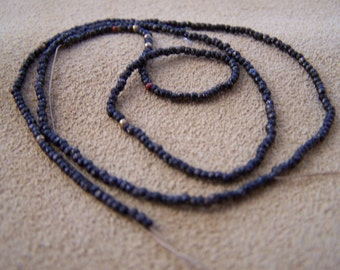 Vintage French steel metal bead strand  faceted Black beads Antique beaded handbag supplies