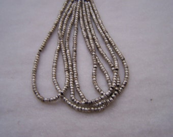 antique French Aluminum bead hank 25  BPI Beads per Inch  round silver 20 inches