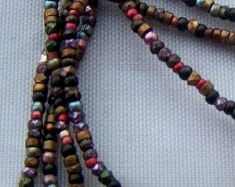 antique VINTAGE French steel bead strand mixed colors supplies trim pursre repair