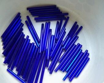 Vintage super  long 30mm  bugle  tube beads Deep Cobalt blue lined needle beads