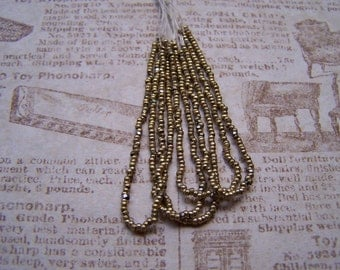 Antique French metal bead hank Brite gold tone brass beads spacer 27 BPI