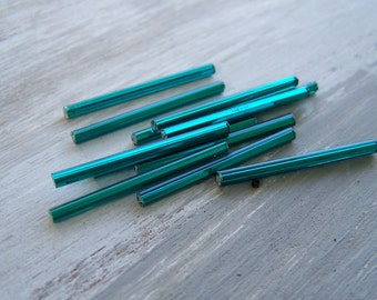 Teal green lined vintage long tube bugel beads, needle beads for fringe / lampsahde repair 30 mm