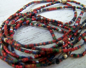 Antique French steel Micro bead hank  Red  steel blue tiny tube beads