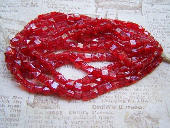 Candy Apple red antique Czech nailhead lot 5-6mm bead glass Rare Trim Embelishment