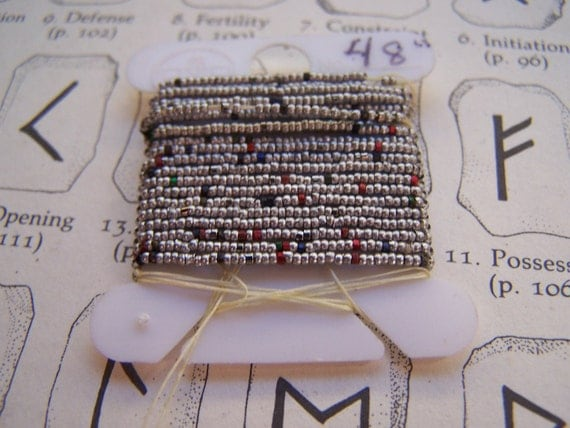 Antique French steel Micro bead strand  Aluminum 38 beads per inch Tiny unusual trim