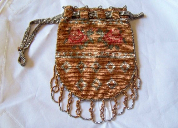 Antique  beaded bag purse French steel  micro metal beaded Floral esign reticule