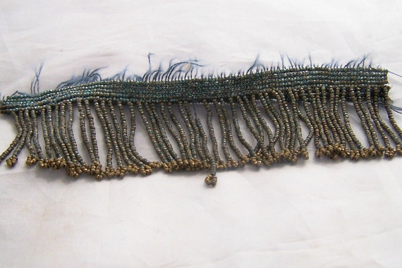 Antique French steel cut beaded fringe section   gold metal beads steel   and Teal