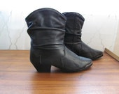 Black leather ankle boots, western, size 7