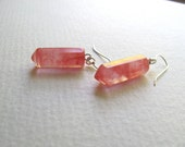 Geometric pink agate spear earrings on sterling silver fixtures