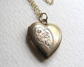 Vintage etched heart locket on long delicate 14k gold fill chain, upcycled vintage piece