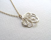 Abstract silver blossom pendant necklace on delicate 14k gold fill chain
