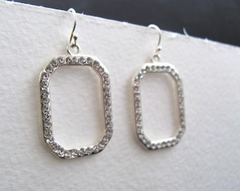 40% off everything! Silver and rhinestone geometric drop earrings, vintage inspired, bridal