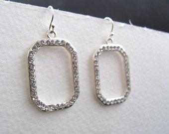 Silver and rhinestone geometric drop earrings, vintage inspired, bridal