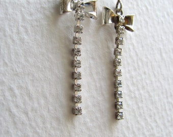 ON SALE: Sterling silver and rhinestone bow earrings, drop