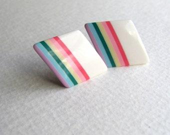 White geometric diamond shaped post earrings, rainbow striped, 1980s