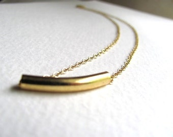 Gold curved tube pendant necklace on delicate 14k gold plated chain, gold bar necklace
