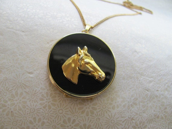 Vintage horse locket pendant necklace, Upcycled vintage jewelry by MSV