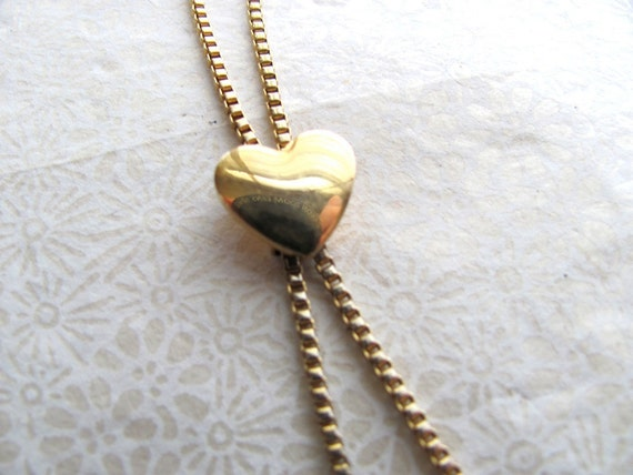 Gold vintage heart lariat necklace