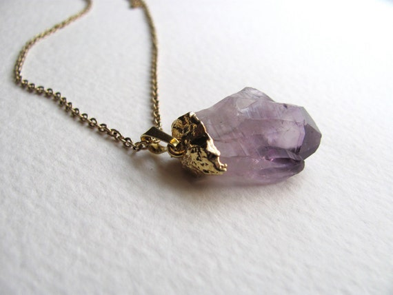 Gold dipped raw amethyst pendant necklace on long vintage gold metal chain