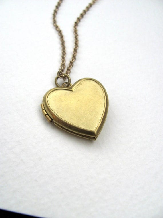 Heart locket necklace on long 14k gold plate chain, upcycled vintage jewelry