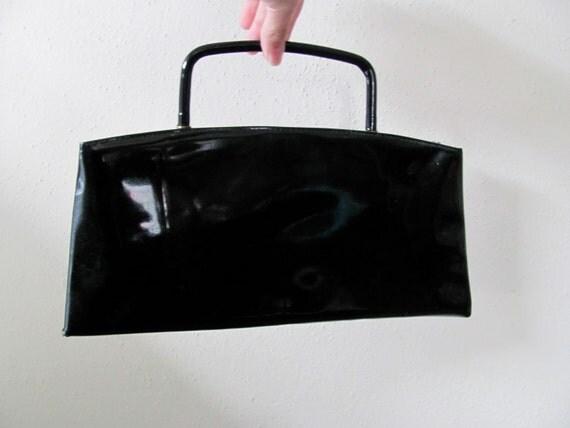 Little black patent handle bag, mid century modern