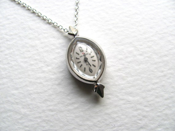 ON SALE: Vintage Helbros watch pendant necklace on long silver chain, upcycled vintage jewelry