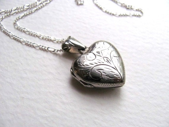 Sterling silver engraved vintage heart locket necklace on long chain