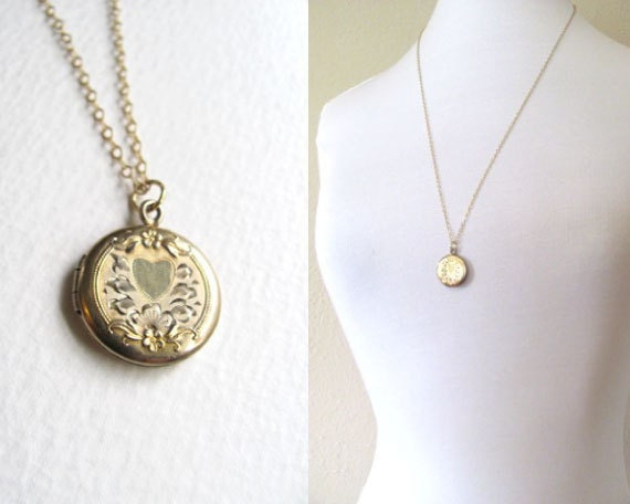 Vintage gold round locket, etched, engraved heart on long delicate 14k gold chain