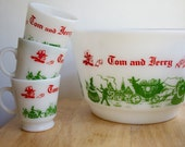 Tom and Jerry Punch Bowl and Mugs, Vintage Christmas