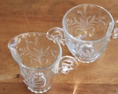 Creamer and Sugar, Heisey Glass, Lariat Pattern
