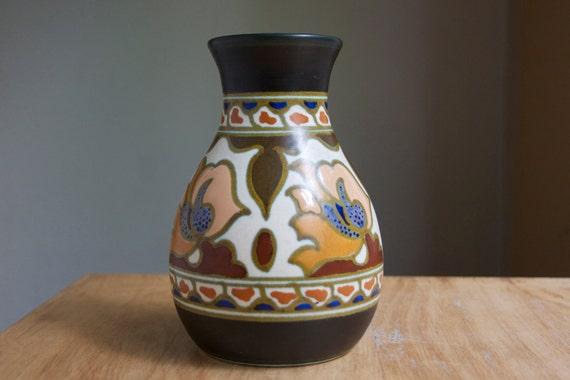 Gouda Pottery Vase, Rare, On Sale, Warm Fall Colors