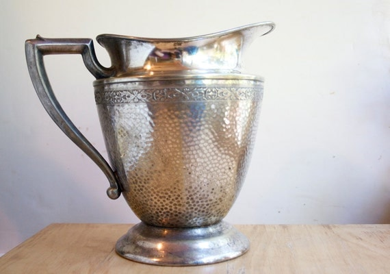 Silver Water Pitcher, Hammered, With Flower Detailing