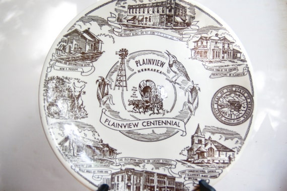Souvenir Plate from Plainview, Nebraska, Kettlesprings Kilns, Neutral Home Decor
