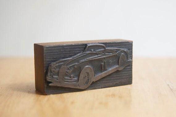 Letterpress Block, Old Car, Man Cave Decor