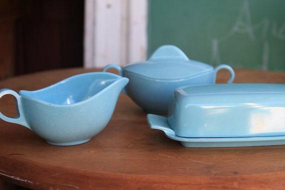 Melamine Creamer, Sugar, Butter Dish Set, Turquoise Blue, Mid Century Modern