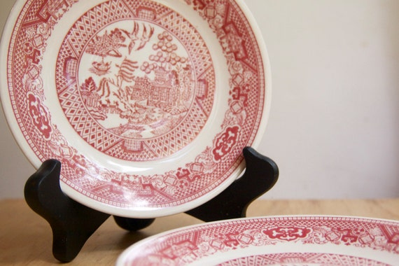 Transferware, Willow Ware Saucers, Red or Pink