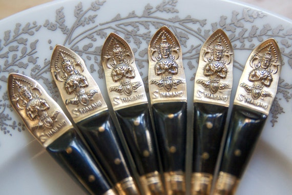 Silverware, Demitasse Spoons from Thailand, Decorated with Horn