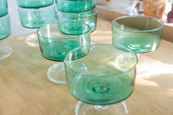 Luminarc Cavalier Glasses, Emerald Green, Sherbet or Coupe Shape, Set of 6, On Sale