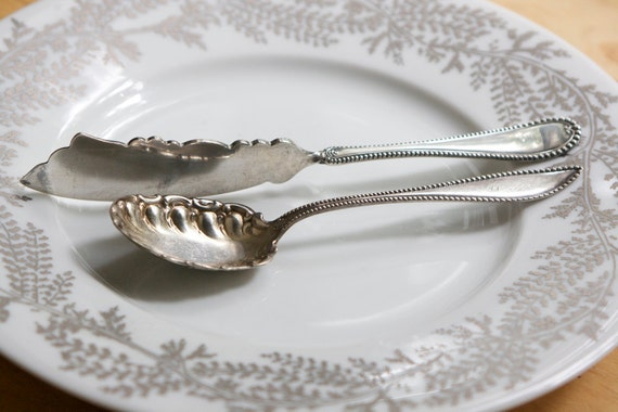 Silverware: Sugar Spoon and Butter Knife, Beaded, Mix and Match