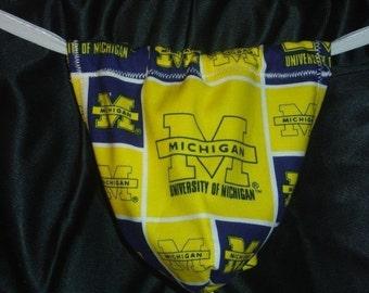 Mens UNIVERSITY OF MICHIGAN G-String Thong Male Lingerie Underwear
