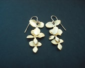 tripple orchid flower cascading earring -16K yellow gold plated and 14K gold filled earwire