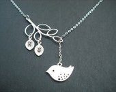Sterling Silver Chain - personalized initial branch and bird lariat